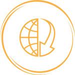 globe and array down. Internet button. Vector icon.
